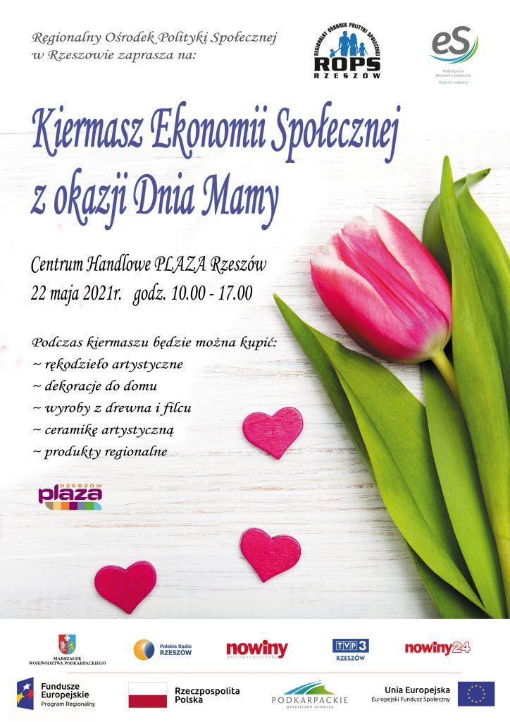 Plakat: Kiermasz Ekonomii Społecznej zokazji Dnia Mamy